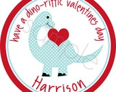 Personalized Valentine Stickers - Dinosaur - Valentines Stickers, Personalized Stickers, Labels, Valentine's Day, Choice of Size