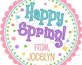 Easter Stickers - Happy Spring - Personalized Stickers, Spring Stickers, Favor Labels, Favor Stickers, Choice of Size
