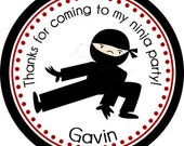 Ninja 2 Personalized Stickers - Party Favor Labels, Address Labels, Birthday Stickers, Ninja, Karate, Martial Arts - Choice of Size