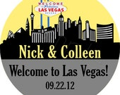 Custom Wedding Stickers - Las Vegas Skyline Personalized Stickers, Wedding Favor Stickers, Envelope Seals - Choice of Size