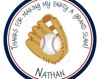 Baseball In Glove Personalized Stickers - Party Favor Labels, Address Labels, Birthday Stickers, Little League, Grand Slam - Choice of Size