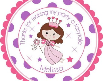 Fairy Princess Personalized Stickers - Birthday Favor Labels, Address Labels, Birthday Stickers - Wide Polka Dot Border
