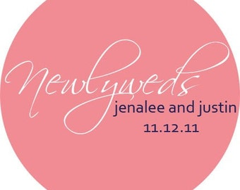 The Newlyweds Personalized Stickers - Wedding Stickers, Wedding Favor Labels, Envelope Seals, Bridal - Choice of Size