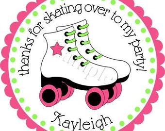 Roller Skate Bash Girls Personalized Stickers - Favor Labels, Party Favor Stickers,  Birthday Stickers, Skating - Choice of Size