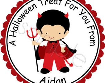 Halloween Little Boy Devil Costume - Personalized Stickers, Halloween Stickers, Party Favor Labels, Trick or Treat - Choice of Size