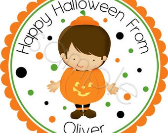 Halloween Little Boy Pumpkin Costume - Personalized Stickers, Party Favor Labels, Trick or Treat, Halloween Stickers - Choice of Size