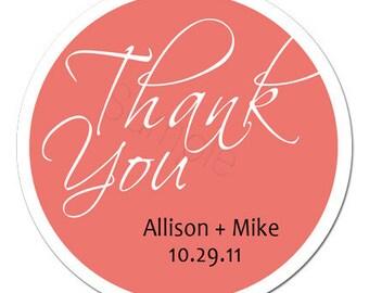 Custom Wedding Stickers - Thank You Personalized Stickers, Wedding Favor Stickers - Choice of Size