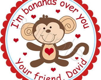 Personalized Valentine Stickers - This Monkey Is Bananas For You - Personalized Stickers, Favor Stickers, Valentines Day, Choice of Size