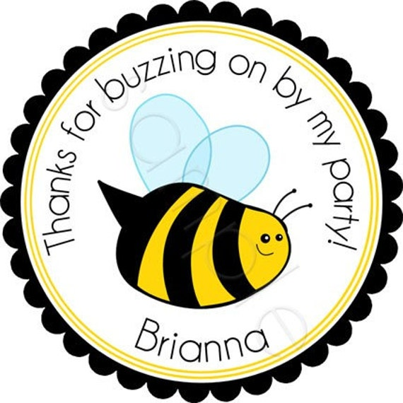 Personalized Buzzing BumbleBee Stickers - Party Favor Labels, Address Labels, Birthday Stickers, Bee, Garden Party - Choice of Size