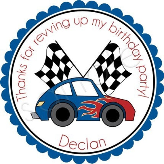 Personalized Vroom Vroom Hot Rod Car In Blue/Red Stickers - Party Favor Labels, Address Labels, Birthday Stickers, Racecar - Choice of Size