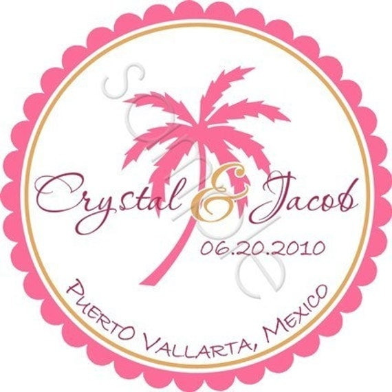 Tropical Palm Tree Personalized Stickers - Wedding Stickers, Destination Wedding, Favor Labels, Envelope Seals, Beach - Choice of Size