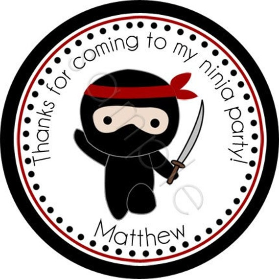 Personalized Ninja Stickers - Party Favor Labels, Address Labels, Birthday Stickers, Ninja, Karate, Martial Arts - Choice of Size