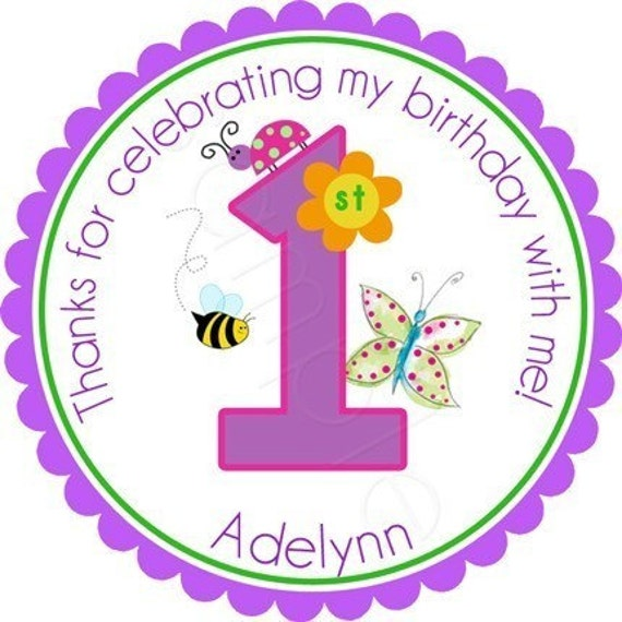 Cutie Patootie Garden Party Birthday Personalized Stickers - Party Favor Labels, Birthday Stickers, Flower, Garden, - Choice of Size