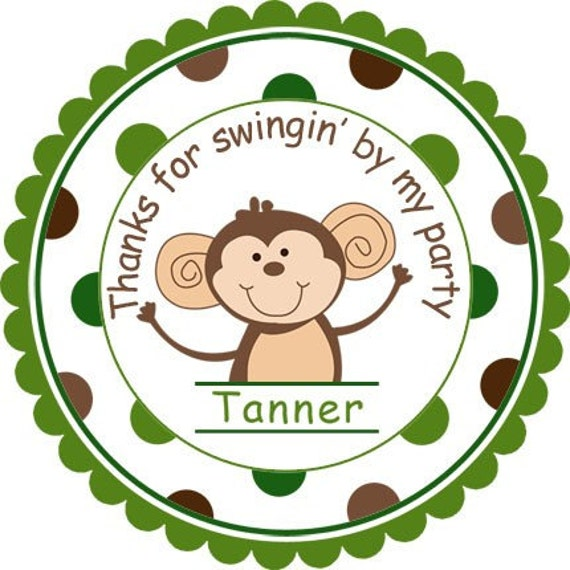 Cute Little Monkey Personalized Stickers,Favor Labels, Party Favor, Gift Tag, Birthday Stickers, Monkey - Wide Polka Dot Border