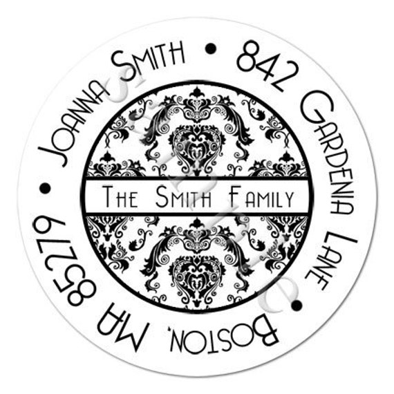 Contemporary Damask Personalized Stickers - Address Labels, Envelope Seals, Wedding Favor Labels, Bridal, Baby Shower - Choice of Size