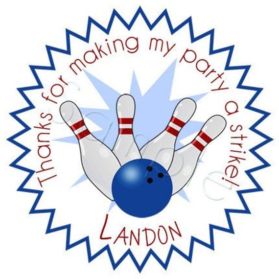 Personalized STRIKE Bowling Party For Boys Stickers - Party Favor Labels, Address Labels, Birthday Stickers, Sports - Choice of Size