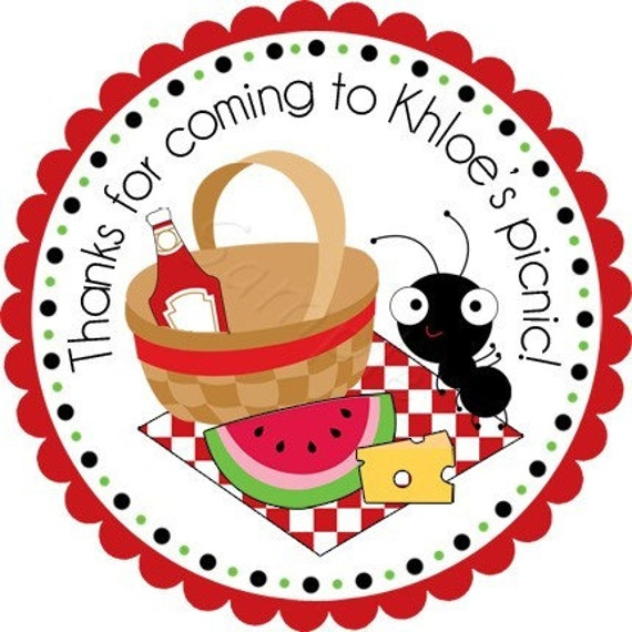 Summer Picnic Personalized Stickers - Favor Labels, Address Labels, Birthday Stickers, Picnic, BBQ, Reunion - Choice of Size