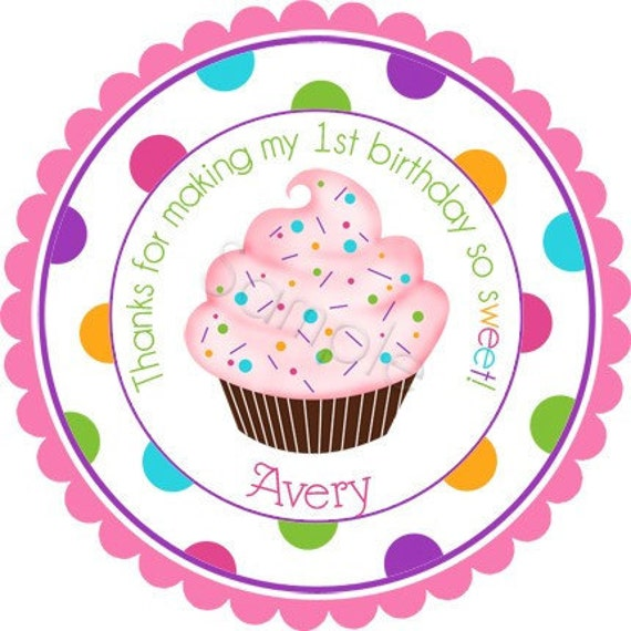 Colorful Cupcake With Sprinkles Personalized Stickers - Party Favor Labels, Address Labels, Birthday Stickers - Wide Polka Dot Border