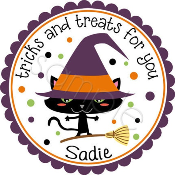 Halloween Kitty Cat Witch - Personalized Stickers, Party Favor Labels, Trick or Treat, Halloween Stickers - Choice of Size