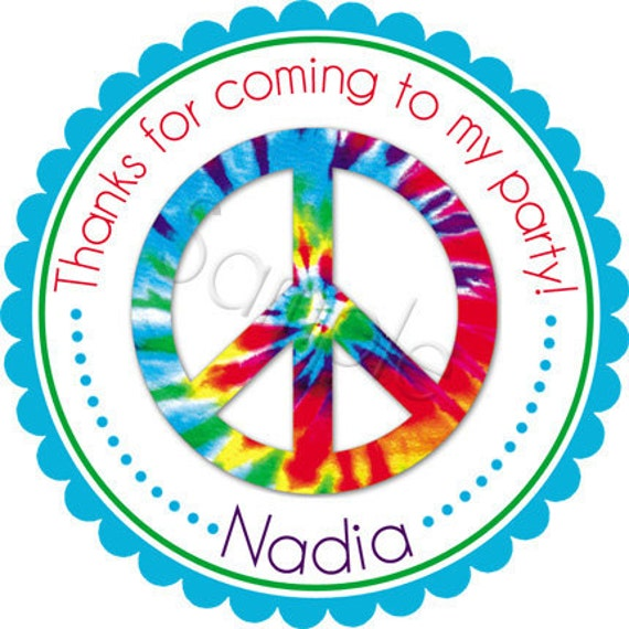 Groovy Tye-Dye Peace Symbol Personalized Stickers - Favor Labels, Party Favor, Address Labels,  Birthday Stickers - Choice of Size