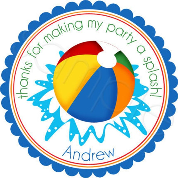 Pool Party Beach Ball - Personalized Stickers, Party Favor Labels, Birthday, Pool Party, Beach, - Choice of Size