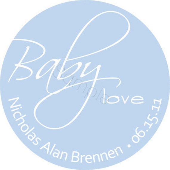Baby Love Personalized Stickers - Baby Shower Stickers, Party Favor Labels, Address Labels, Announcement Seals - Choice of Size