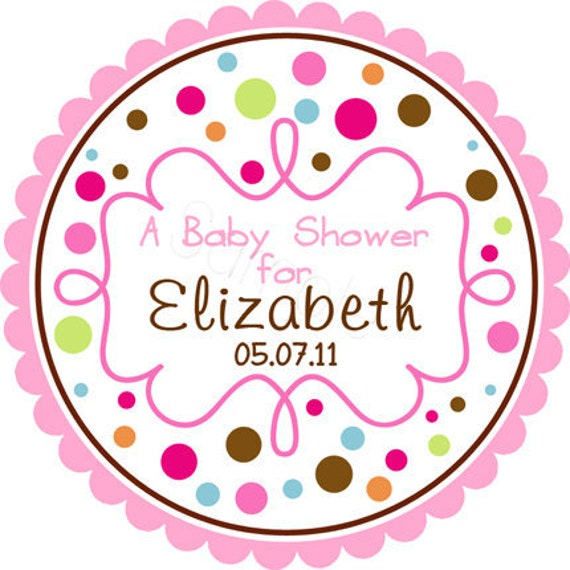 Personalized Polka Dots Amp Curly Frame Stickers Party Favor