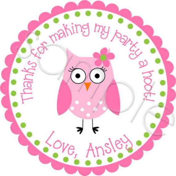 Pretty Owl Personalized Stickers - Birthday stickers, Party Favor Labels, Address Labels, Owl - Choice of Size