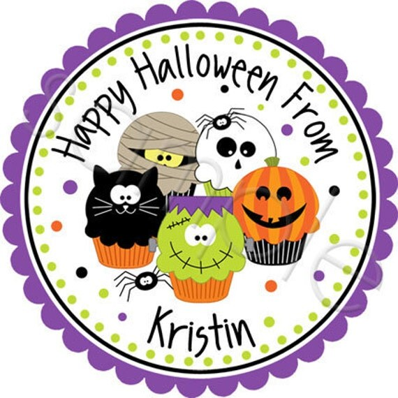 Personalized Halloween Stickers Spooky Cute Cupcakes Too - Personalized Stickers, Party Favor Labels, Holiday, Halloween - Choice of Size