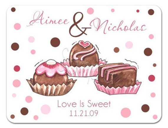 Personalized Love Is SO Sweet Trio of Truffles Stickers - Wedding Stickers, Favor Labels, Bridal Shower, Candy Buffet, Desert Buffet