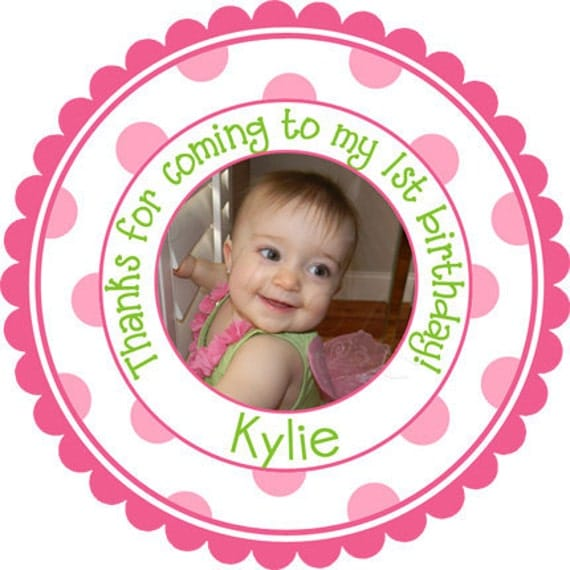 Personalized Photo Stickers - Party Favor Labels, Birthday Party Stickers, New Baby  -  Set of 36 Stickers