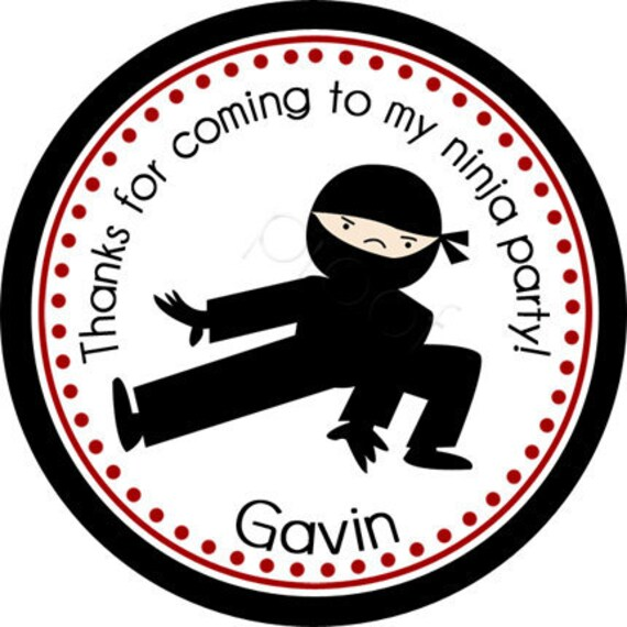 Personalized Ninja 2 Stickers - Party Favor Labels, Address Labels, Birthday Stickers, Ninja, Karate, Martial Arts - Choice of Size