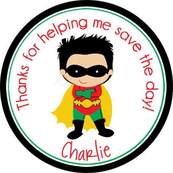 Super Boy Superhero Personalized Stickers - Favor Labels, Party Favor, Address Labels, Gift Tag, Birthday Stickers - Choice of Size