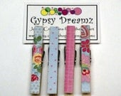 Cottage Clothespins Blue and Pink