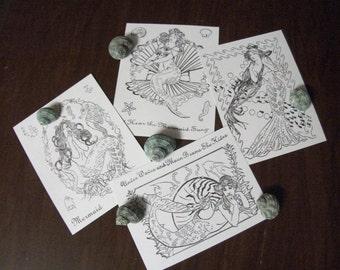 Mermaid Cards, Set of 4