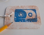 Mix Tape Gift Tags set of 6 large 80's cassette retro tags
