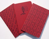Eclectic Retro Moleskines, set of 3 red pocket journals, safety pins fan light switch