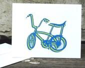 Bicycle cards, set of 4 retro schwinn bike ride blank cards for birthdays graduation thank you