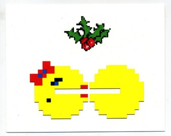 8 bit videogame Holiday cards, set of 4 geek arcade christmas notecards