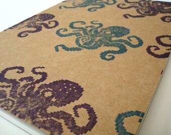 8bit Octopus Moleskine XL journal, artist notebook pixel geek