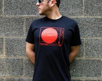 Men's DJ shirt record player t-shirt Small juniors hip hop hipster clothing