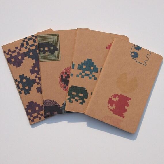 Retro Arcade pocket moleskines, 8 Bit video game pocket journals, set of 4