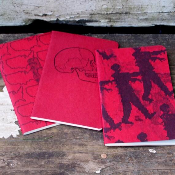 Zombie Apocalypse Moleskines, 3 zombies inspired pocket journals, skull goth shotgun shells