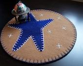 "Sale! Blue star wool felt penny rug- 10"" round - Sale!"