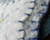 Sale! Wool Felt Ornaments- Blue and White Poinsettia