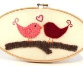 "Love Birds- Wool felt applique in 5x9"" embroidery hoop"
