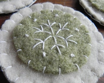 Christmas Ornaments- Green and White Snowflake