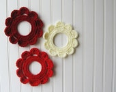Decorative Crochet Wreath Wall Hangings & Picture Frames Rouge Red Hues