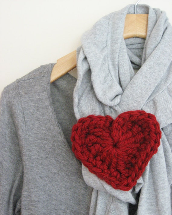 Chunky Crochet Heart Ruby Red Valentine