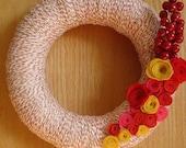 Holiday Fest Yarn Wreath with Felt Flowers-12 in wreath-Ready to Ship